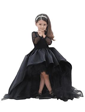 povoljno Trgovina vjenčanja-A-kroj Asimetričan kroj Haljina za djevojčicu s cvijećem - Taft / Til Dugih rukava Ovalni izrez s Kristali / Rhinestones po LAN TING Express