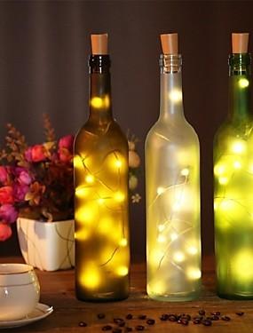 preiswerte Haus & Garten-2m Weinflasche Korken Lichterketten 20 LED SMD 0603 warmes Weiß / Weiß / Multi Farbe wasserdicht / Party / Hochzeit / Weihnachten / Halloween Batterien betrieben 1pc