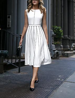 cheap Special Sales-Women's 2020 White Dress Elegant Spring & Summer A Line Striped M L