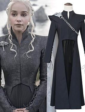 preiswerte Ausverkauf-Drachenmutter Game of Thrones Daenerys Targaryen Kleid Cosplay Kostüme Herrn Damen Film Cosplay Grau & Schwarz Top Rock Umhang Halloween Karneval Oktoberfest Baumwollflanell