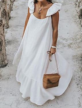 billige Ned til $ 2,99-Dame Maxi Plusstørrelser Hvid Sort Kjole Elegant Gade Swing Med stropper Drapering S M Løstsiddende
