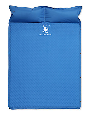 cheap Sports & Outdoors-HUILINGYANG Inflatable Sleeping Pad Outdoor Camping Stretchy Linen / Polyester Blend 193*130*3.5 cm Camping / Hiking / Caving for 1 - 2 person All Seasons Blue / Double Size