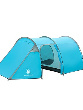 cheap Sports & Outdoors-HUILINGYANG 4 person Family Tent Outdoor Windproof Rain Waterproof Double Layered Poled Camping Tent 2000-3000 mm for Camping / Hiking / Caving Terylene 100+100+225*200*130 cm