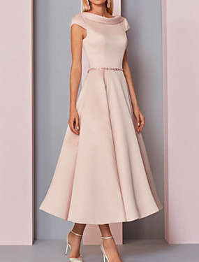 cheap Weddings & Events-A-Line Mother of the Bride Dress Plus Size Cowl Neck Ankle Length Satin Short Sleeve with Crystals 2020
