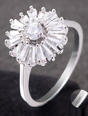 preiswerte Mode Ringe-Personalisiert Angepasst Klar Kubikzirkonia Ring Klassisch Geschenk Versprechen Festival Geometrische Form 1pcs Silber Rotgold