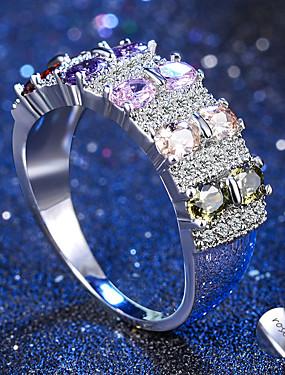 preiswerte Mode Ringe-Personalisiert Angepasst Klar Kubikzirkonia Ring Klassisch Geschenk Versprechen Festival Geometrische Form 1pcs Regenbogen