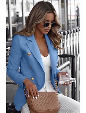 preiswerte Damen Überbekleidung-Damen Alltag Standard Blazer, Solide Hemdkragen Langarm Polyester Schwarz / Weiß / Blau