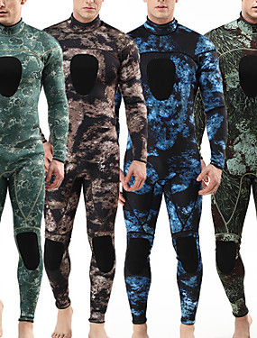 cheap Sports & Outdoors-MYLEDI Men's Full Wetsuit 3mm SCR Neoprene Diving Suit Thermal / Warm Waterproof Long Sleeve Back Zip - Swimming Diving Surfing Camo / Camouflage Spring Summer Fall / Winter