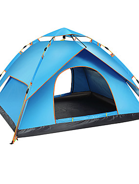 cheap Sports & Outdoors-BSwolf 3 person Automatic Tent Outdoor Windproof Rain Waterproof Breathability Double Layered Automatic Camping Tent 1500-2000 mm for Fishing Beach Camping / Hiking / Caving Oxford Cloth Terylene