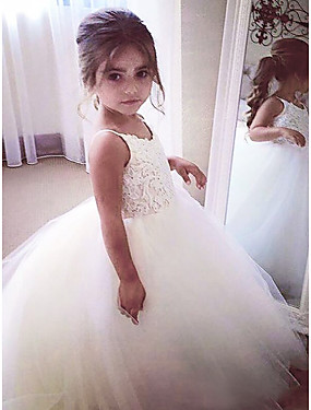cheap The Wedding Store-A-Line Floor Length Wedding / First Communion / Pageant Flower Girl Dresses - Satin / Tulle Sleeveless Jewel Neck with Appliques