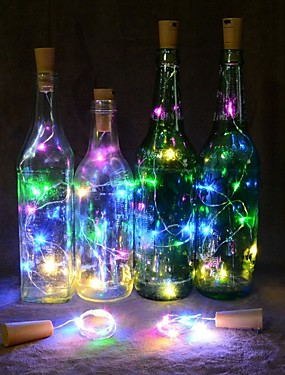 preiswerte Unter 9.9-2m Flexible LED-Leuchtstreifen 20 LEDs Warmes Weiß / Mehrfarbig Weihnachtshochzeitsdekoration / Weinflaschenverschluss Kork Kupferdraht Batterien angetrieben 1pc