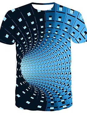 preiswerte Men's Clothing-Herrn Gestreift / Einfarbig - Street Schick / Punk & Gothic T-shirt, Rundhalsausschnitt Druck Blau / Kurzarm