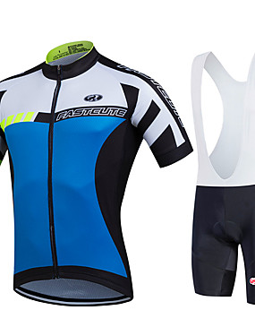 cheap Sports & Outdoors-FUALRNY® Men's Short Sleeve Cycling Jersey with Bib Shorts White Black Bike Clothing Suit Breathable Quick Dry Moisture Wicking Sports Geometry Mountain Bike MTB Road Bike Cycling Clothing Apparel
