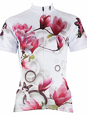 cheap Sports & Outdoors-ILPALADINO Women's Short Sleeve Cycling Jersey Polyester White Purple Red Floral Botanical Plus Size Bike Jersey Top Mountain Bike MTB Road Bike Cycling Breathable Quick Dry Ultraviolet Resistant