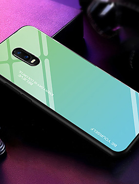 cheap OPPO?Case-Case For OPPO Oppo F11 Pro / oppo R17 / OPPO R15 Ultra-thin Back Cover Color Gradient Tempered Glass