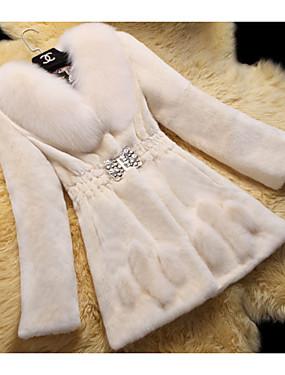 levne Party noc-Dámské Denní Podzim zima Standardní Faux Fur Coat, Jednobarevné Polostojatý límec 3/4 délka rukávu / Dlouhý rukáv Umělá kožešina Černá / Fialová / Bílá