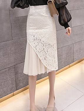 cheap Clearance-Women's Chic & Modern Trumpet / Mermaid Skirts - Patchwork Lace / Chiffon Black Beige S M L