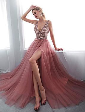 levne Party noc-Dámské Volné Swing Šaty - Jednobarevné Maxi Do V Hluboké V