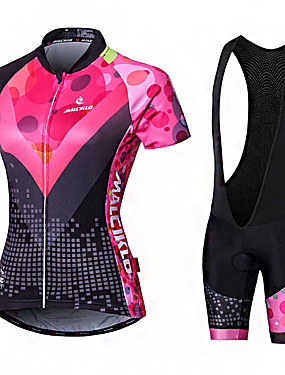 cheap Sports & Outdoors-Malciklo Women's Short Sleeve Cycling Jersey with Bib Shorts Elastane Lycra Polyester Pink+White Black Purple Geometic British Plus Size Bike Jersey Tights Padded Shorts / Chamois Breathable Quick