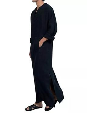 baratos Abayas-Homens Túnica Sólido Blusas Decote V Preto Azul Khaki / Manga Longa
