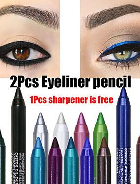 preiswerte Kosmetik für Augen-Langlebige wasserdichte eyeliner Bleistiftart und weiseaugenverfassungskosmetik des bunten Pigments 2pcs