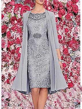 저렴한 파티 나이트-여성용 투피스 드레스 - 3/4 길이 소매 플로럴 레이스 봄 여름 우아함 칵테일 파티 데이트 생일 2020 버건디 다크 블루 그레이 M L XL XXL XXXL