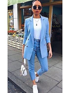 preiswerte Damen Überbekleidung-Damen Übergrössen Blazer, Solide Gekerbtes Revers Polyester Schwarz / Gelb / Khaki