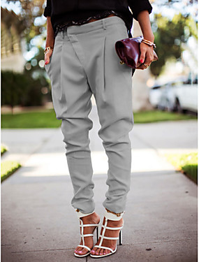 cheap Clearance-Women's Street chic Plus Size Jogger Pants - Solid Colored White Black Blue S / M / L