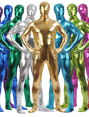 cheap Toys & Hobbies-Shiny Zentai Suits Catsuit Skin Suit Ninja Adults' Spandex Latex Cosplay Costumes Sex Men's Women's Black / Purple / Blushing Pink Solid Colored Halloween / High Elasticity