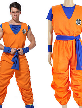 cheap Toys & Hobbies-Inspired by Dragon Ball Son Goku Anime Cosplay Costumes Japanese Cosplay Suits Letter Others / Top / Pants For Unisex / Sash / Ribbon / Sash / Ribbon