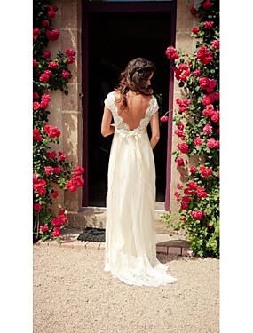 voordelige De Bruiloftswinkel-A-lijn V-hals Hofsleep Tule Op maat gemaakte trouwjurken met Appliqués / Knopen / Kant door LAN TING Express / Doorzichtig