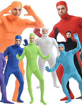 cheap Toys & Hobbies-Zentai Suits Skin Suit Full Body Suit Ninja Adults' Spandex Lycra Cosplay Costumes Sex Men's Women's Black / White / Purple Solid Colored Halloween / High Elasticity