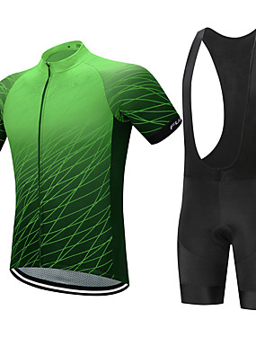 cheap Sports & Outdoors-FUALRNY® Men's Short Sleeve Cycling Jersey with Bib Shorts Green Black / Red Purple Plaid / Checkered Gradient Bike Clothing Suit Breathable Moisture Wicking Quick Dry Anatomic Design Back Pocket