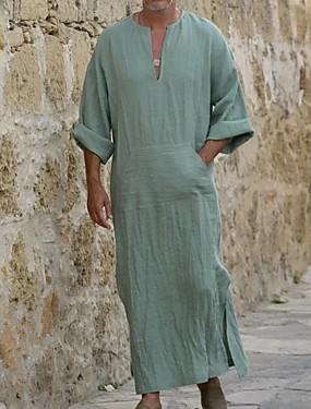 baratos Abayas-Homens Túnica Sólido Blusas Decote V Preto Azul Laranja / Manga Longa
