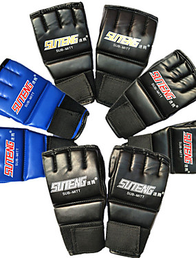 cheap Sports & Outdoors-Boxing Gloves For Martial Arts Boxing Training Grappling Kickboxing Fingerless Gloves Durable Extra Long Strap Breathable Wrist Support Moisture Wicking NBR Adults All Unisex - Black / Red Black