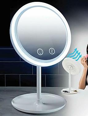 preiswerte Kosmetikspiegel-5x Lupe LED Make-up Spiegel Licht Desktop Beauty Brise Spiegel mit Fan Frauen