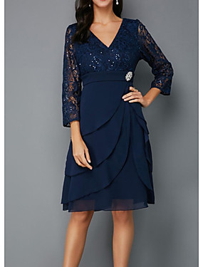 cheap Weddings & Events-A-Line Mother of the Bride Dress Plus Size V Neck Knee Length Chiffon Lace 3/4 Length Sleeve with Sash / Ribbon Crystals Beading 2020