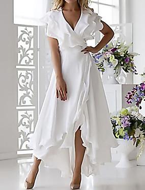 preiswerte Damenbekleidung-Damen Übergrössen Sexy A-Linie Kleid - Rüsche Wickeln, Solide Midi V-Ausschnitt