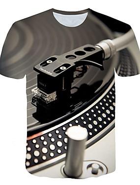 preiswerte Men's Clothing-Herrn 3D - Übertrieben Übergrössen T-shirt, Rundhalsausschnitt Druck Hellgrau / Kurzarm