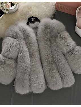 levne Party noc-Dámské Denní Základní Krátké Faux Fur Coat, Jednobarevné Do V Dlouhý rukáv Umělá kožešina Bílá / Světlá růžová / Šedá