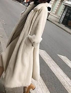 levne Party noc-Dámské Denní Dlouhé Faux Fur Coat, Jednobarevné Přehnutý Dlouhý rukáv Umělá kožešina Černá / Bílá