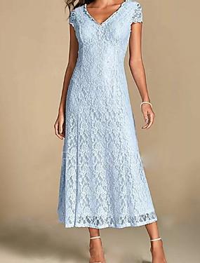 billige Bryllup & Eventer-a-line mor til brudekjolen pluss størrelse v-hals ankellengde blonder kort erme med pliss 2020 mor til brudgommens kjoler
