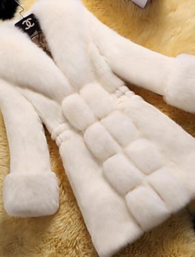 levne Party noc-Dámské Denní Dlouhé Faux Fur Coat, Jednobarevné Do V Dlouhý rukáv Umělá kožešina Černá / Fialová / Bílá