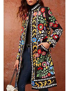 cheap Special Sales-Women's Daily Basic Fall & Winter Long Coat, Geometric Stand Long Sleeve PU Green