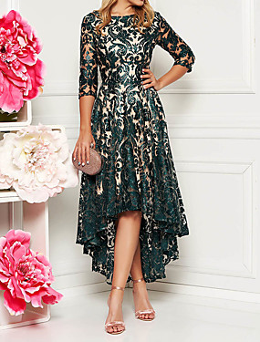 billige Ned til $ 2,99-Dame 2020 Asymmetrisk Grøn Kjole Elegant Forår sommer Cocktailparty Skolebal Fødselsdag A-linje Blomstret Helfarve Blonder M L Tynd / Blondelukning