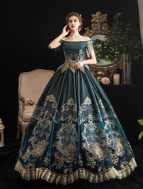 cheap Toys & Hobbies-Maria Antonietta Rococo Baroque Victorian Dress Party Costume Women's Lace Satin Costume Dark Green Vintage Cosplay Party Halloween Party & Evening Floor Length Ball Gown Plus Size