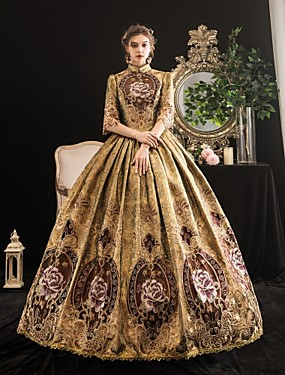 cheap Toys & Hobbies-Maria Antonietta Rococo Baroque Victorian Dress Party Costume Women's Lace Satin Costume Coffee Vintage Cosplay Party Halloween Party & Evening Floor Length Ball Gown Plus Size
