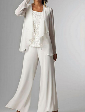 cheap Staycation-Pantsuit / Jumpsuit Bateau Neck Floor Length Chiffon Sleeveless Elegant / Plus Size Mother of the Bride Dress with Beading 2020