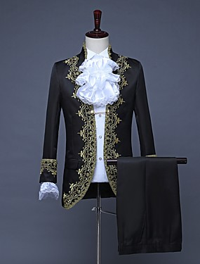cheap Toys & Hobbies-Prince Retro Vintage Medieval Coat Pants Outfits Masquerade Men's Costume Black / White / Red Vintage Cosplay Party Prom Long Sleeve / Collar / Collar