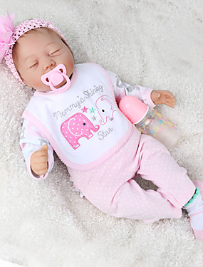 cheap Toys & Hobbies-NPK DOLL 22 inch Reborn Doll Baby & Toddler Toy Reborn Toddler Doll Baby Boy Baby Girl Gift Cute Lovely Parent-Child Interaction Tipped and Sealed Nails Cloth 3/4 Silicone Limbs and Cotton Filled Body